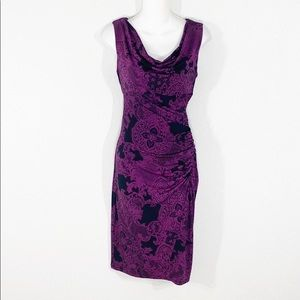 Jones New York black purple lace print dress